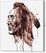 Indian Warrior Sepia Tones Canvas Print
