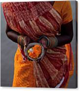 Indian Woman  Offering Puja  For The Canvas Print