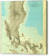 Island Of Luzon - Old Cartographic Map - Antique Maps Canvas Print