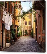 Italian Old Town Trastevere In Rome Canvas Print