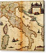Italy Map 1635 Canvas Print