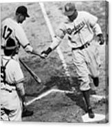 Jackie Robinson At Home Plate, 1947 Canvas Print
