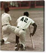 Jackie Robinson On Deck Canvas Print