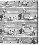 Jackie Robinson, With Two Out In The Canvas Print