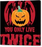 Jackolantern Scary Ghost Zombie Pumpkin Halloween Dark Canvas Print