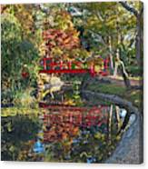 Japanese Garden Red Bridge Reflection Canvas Print