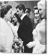 Jayne Mansfield Meeting Queen Elizabeth Canvas Print