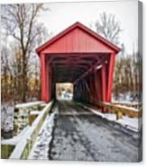 Jericho Covered Bridge Snow Canvas Print