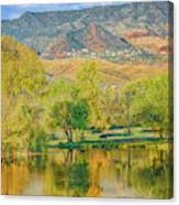 Jerome Reflected In Deadhorse Ranch Pond Canvas Print