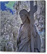 Jesus Graveyard Statue Canvas Print
