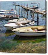 Jetty With Moored Boats.  Porec Canvas Print