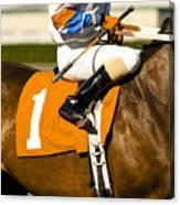 Jockey Rides Horse Along Track Canvas Print