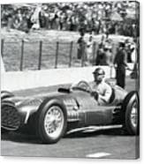 Juan Manuel Fangio Warming Up Race Car Canvas Print