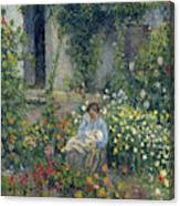 Julie And Ludovic-rodolphe Pissarro Among The Flowers, 1879 Canvas Print