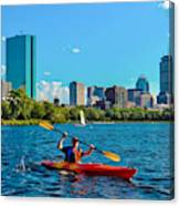 Kayaking On The Charles Canvas Print