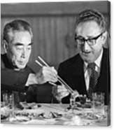 Kissinger Eating With Zhou Enlai Canvas Print