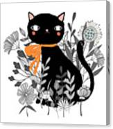 Kitty Kitty Sitting Pretty With Flowers All Around Canvas Print