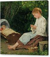 Knitting Girl Watching The Toddler Canvas Print