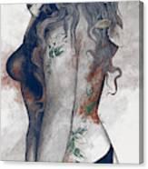 Koi No Yokan - Blue Rust - Erotic Drawing, Sexy Tattoo Girl In Thong Biting An Apple Canvas Print