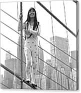 Kusama On The Brooklyn Bridge Canvas Print