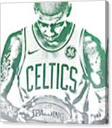 Kyrie Irving Boston Celtics Water Color Pixel Art 30 Canvas Print