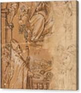 La Virgen En Gloria Apareciendose A Varios Santos  Canvas Print