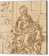 La Virgen Ensena A Leer Al Nino  Canvas Print