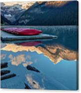 Lake Louise Canoes In Banff National Canvas Print