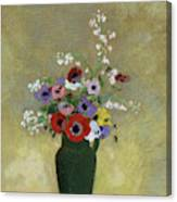 Large Green Vase With Mixed Flowers, 1912 Canvas Print