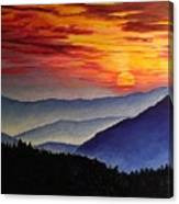 Laurens Sunset And Mountains Canvas Print