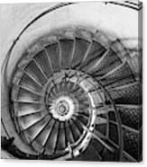 Lblack And White View Of Spiral Stairs Inside The Arch De Triump Canvas Print