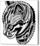 Leopard cat kitten - ink illustration Canvas Print