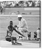 Lewis In The Long Jump At Olympics Canvas Print