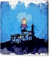 Lighthouse, Watercolor, C2019, By Adam Asar - 19 Canvas Print