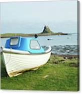 Lindisfarne Castle, Bay And Boat Canvas Print