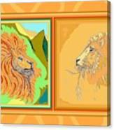 Lion Pair Warm Canvas Print