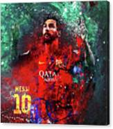 Lionel Messi In Barcelona Kit Canvas Print