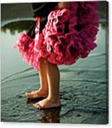 Little Girls Feet Splashing And Dancing Canvas Print
