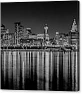 Liverpool Skyline In The Night Black And White Canvas Print