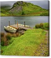 Llyn Y Dywarchen Boats Snowdonia Canvas Print