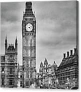 London, Big Ben, Black And White Canvas Print