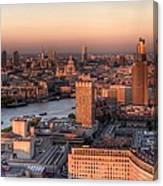 London Cityscape At Sunset Canvas Print