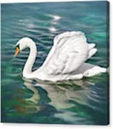 Lone Swan Lake Geneva Switzerland Canvas Print