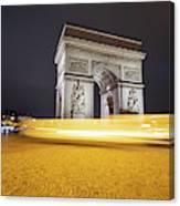 Long Exposure Picture Of Paris Arch De Triomphe At Night   Canvas Print
