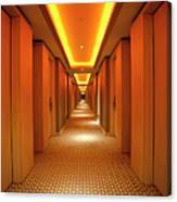 Long, Narrow Corridor With Retro Themed Canvas Print