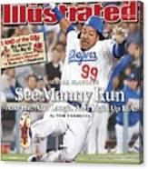 Los Angeles Dodgers Manny Ramirez, 2008 Nl Division Series Sports Illustrated Cover Canvas Print