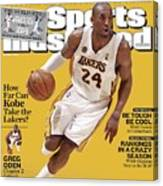 Los Angeles Lakers Kobe Bryant... Sports Illustrated Cover Canvas Print