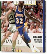 Los Angeles Lakers Magic Johnson And Boston Celtics Larry Sports Illustrated Cover Canvas Print