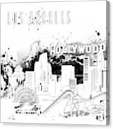 Los Angeles Skyline Panorama White Canvas Print