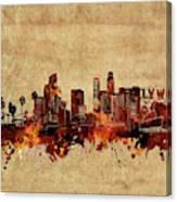 Los Angeles Skyline Vintage Canvas Print